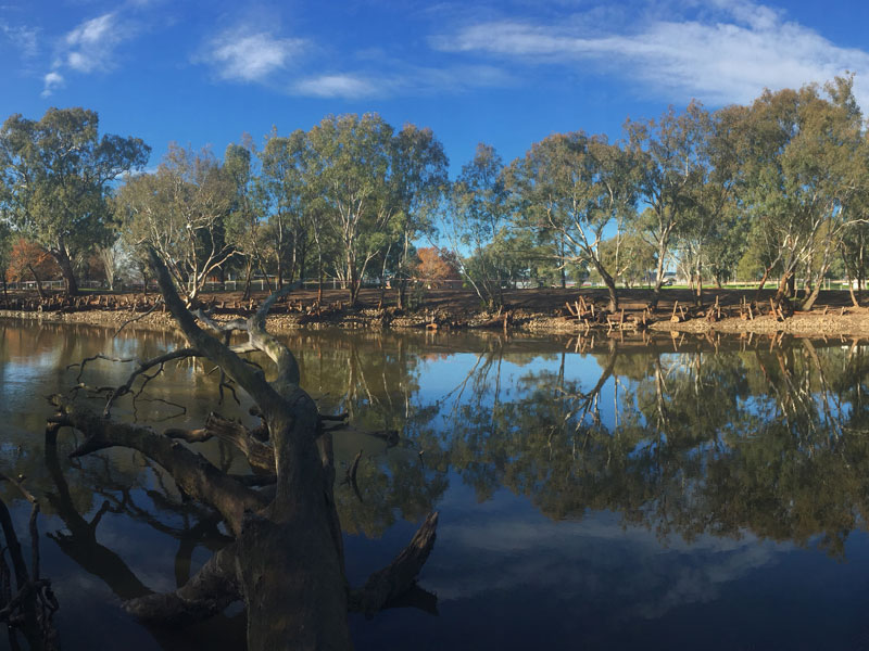 view from Wodonga side of river at streambank works