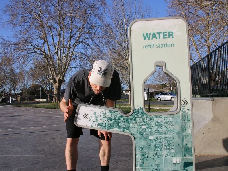 Water station activated by sensor to reduce Covid risk