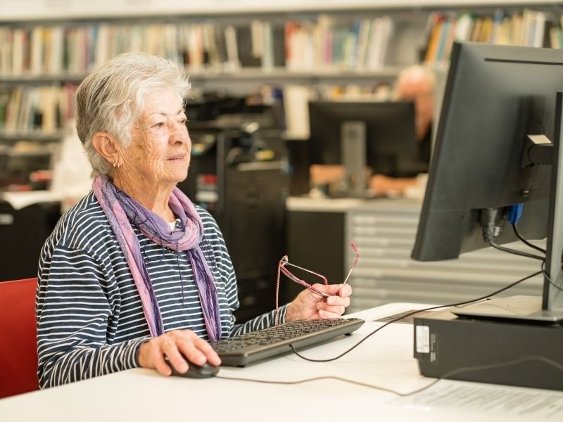 older woman on computer