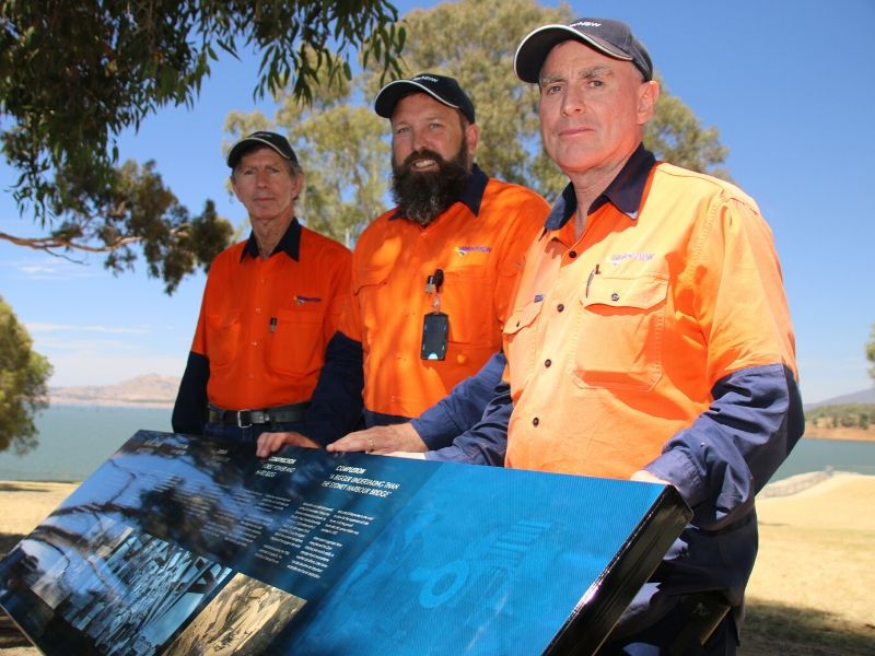 The WaterNSW team celebrates the 100th anniversary of the start of work on the Hume Dam