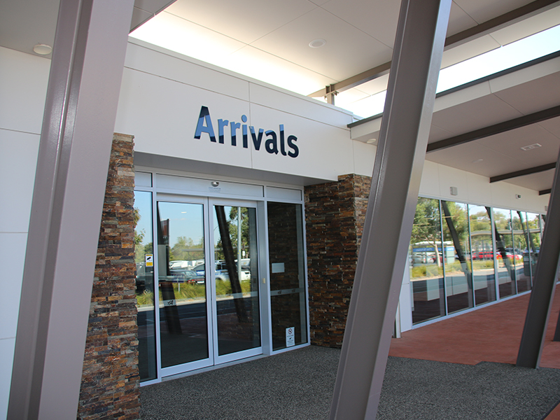 Image of the Arrival door at the Airport
